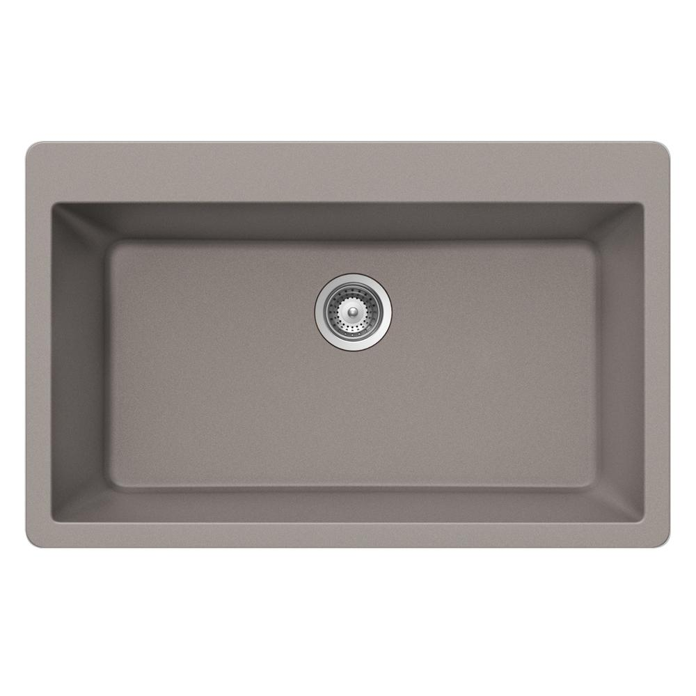 Quartztone 33 in. Top Mount Large Single Bowl Sink in Taupe