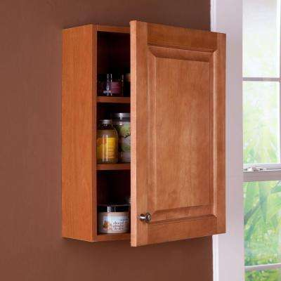 Chelsea 18 in. W x 24 in. H x 8 in. D Over the Toilet Bathroom Storage Wall Cabinet in Nutmeg