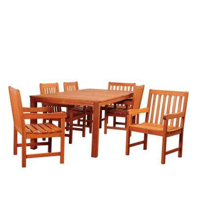 Amazonia Bristol Brown 7-Piece Wood Rectangular Outdoor Dining Set