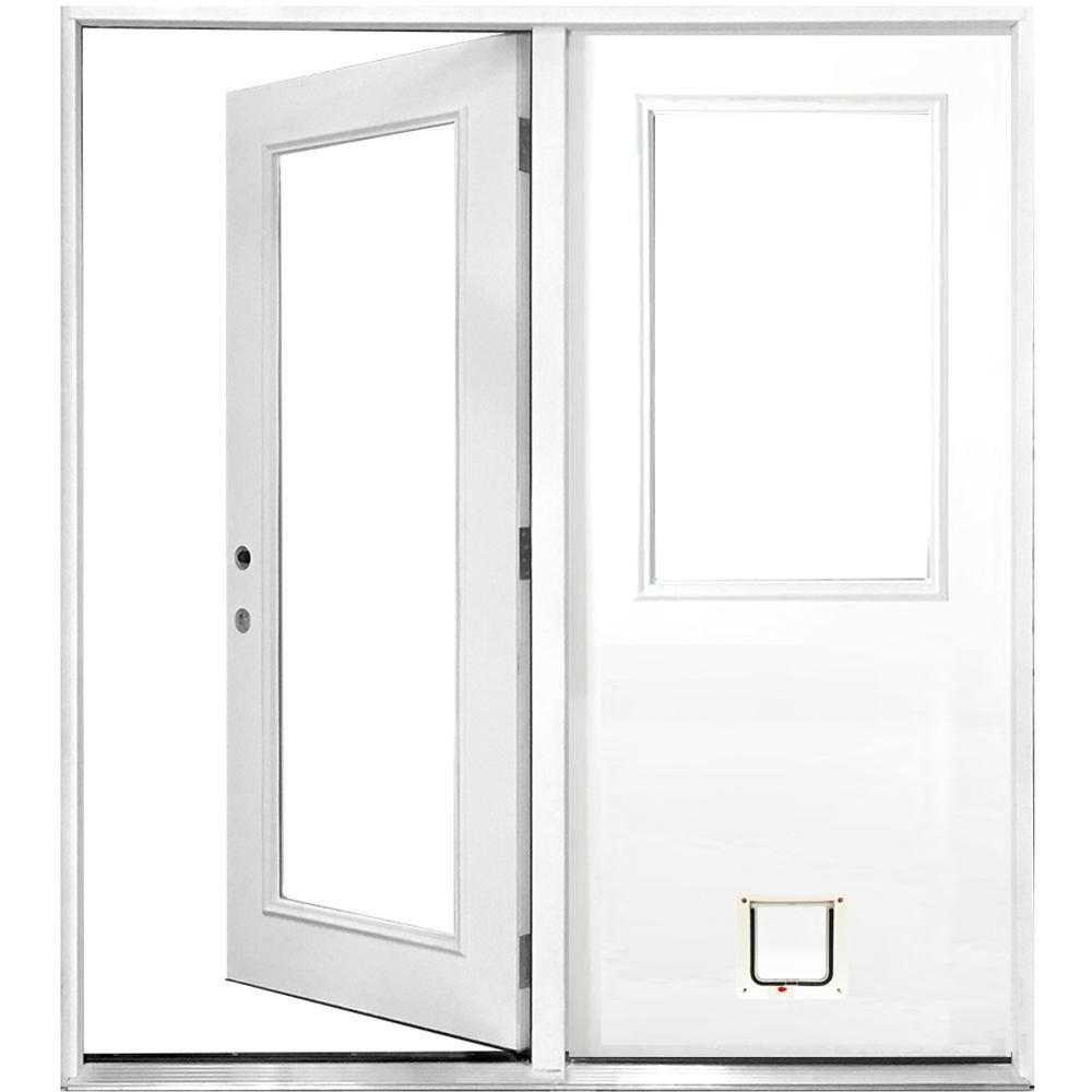 Steves & Sons 60 in. x 80 in. Clear Lite Primed White Fiberglass Prehung Right-Hand Inswing Center Hinge Patio Door with Cat Door
