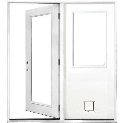 60 in. x 80 in. Clear Lite Primed White Fiberglass Prehung Right-Hand Inswing Center Hinge Patio Door with Cat Door