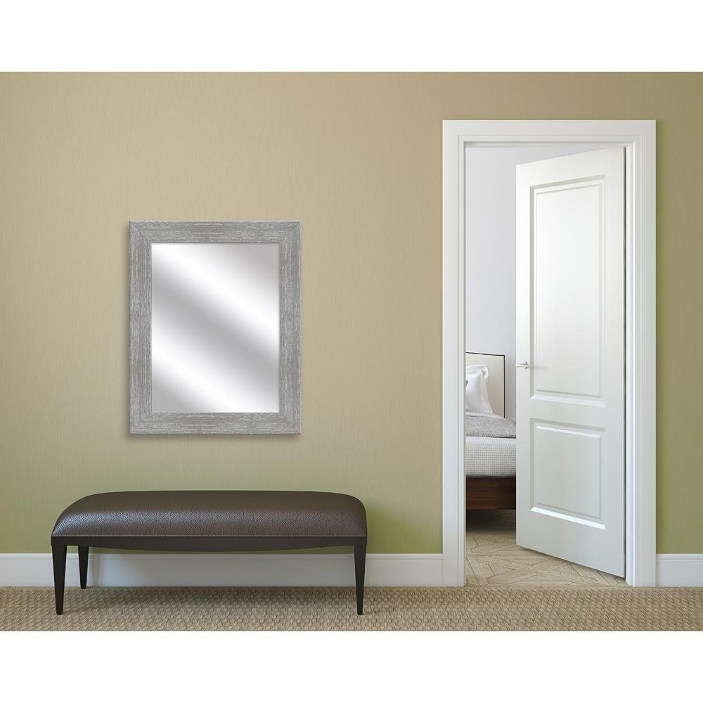 31.5 in. x 25.5 in. Gray Wash Framed Mirror