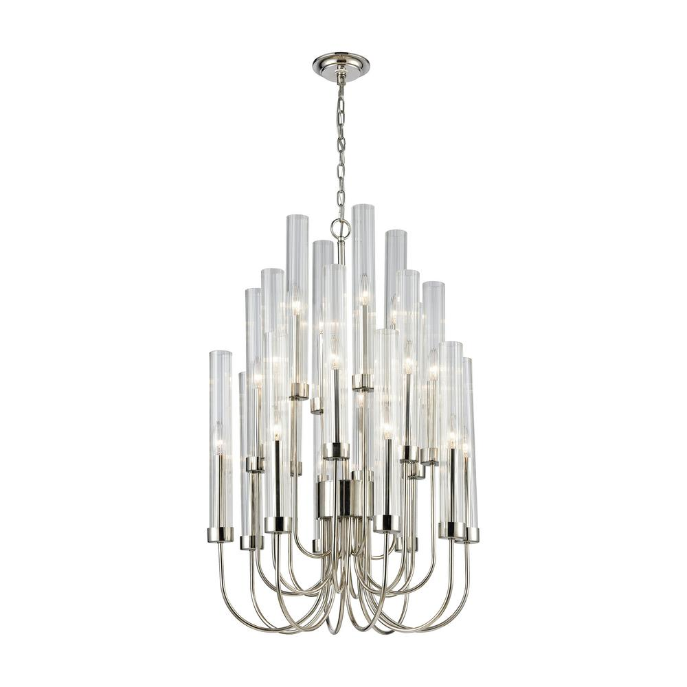 Shasta 20 light polished nickel chandelier