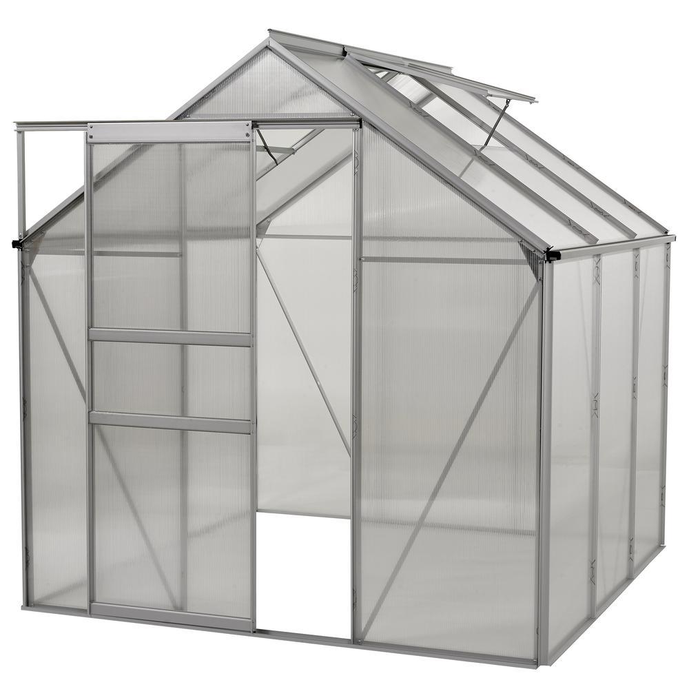 Ogrow 6 ft. x 6 ft. Aluminium Greenhouse - Walk-In With Sliding Door ...