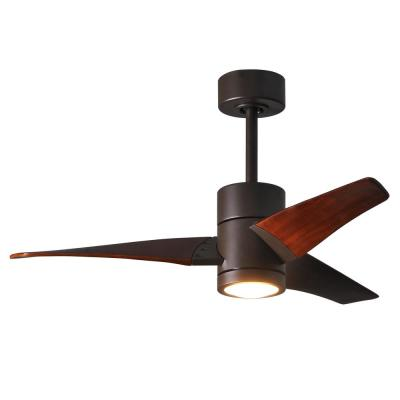 Super Janet 42 in. LED Indoor/Outdoor Damp Textured Bronze Ceiling Fan with Light with Remote Control, Wall Control