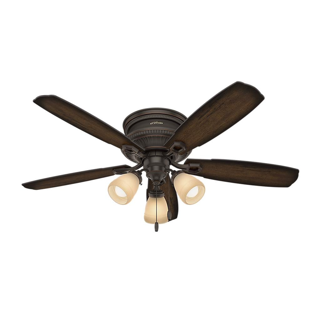 Hunter Ambrose 52 In Led Indoor Onyx Bengal Bronze Low Profile Three Light Ceiling Fan 53356