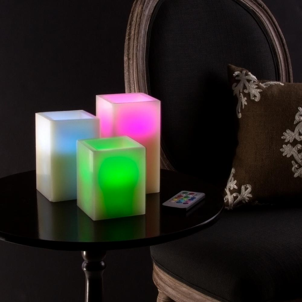 5.75 in. H Color Changing Square LED Flameless Candle with Remote (3-Pack)