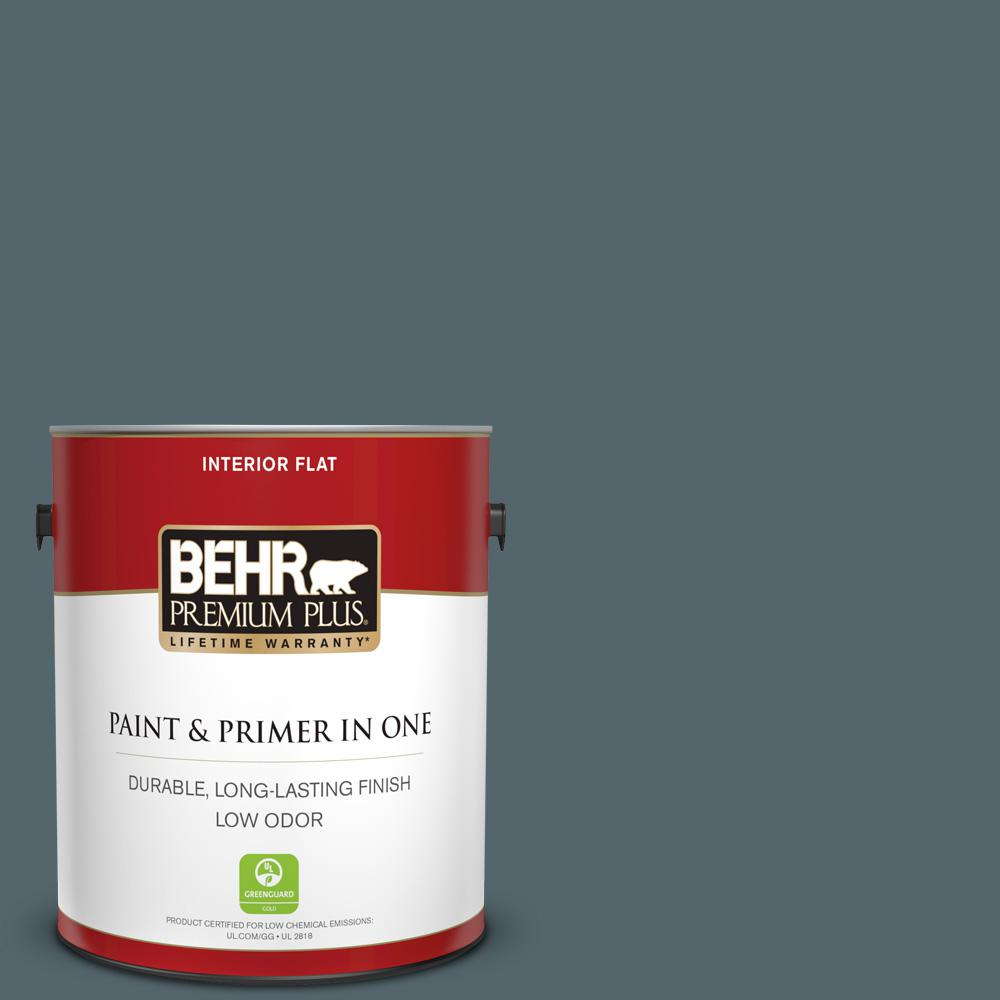 1 gal. #N470-6 Whale Gray Flat Low Odor Interior Paint and