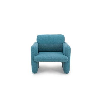 Ross Series Blue Woven Fabric Upholstered Modern Accent Single Seat Sofa Chair with Matching Back Support Cushion