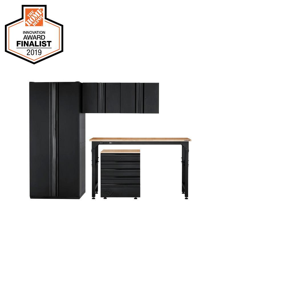 Heavy Duty Welded 108 in. W x 81 in. H x 24 in. D Steel Garage Cabinet Set in Black (5-Piece)
