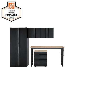Heavy Duty Welded 108 in. W x 81 in. H x 24 in. D Steel Garage Cabinet Set in Black (5-Piece)