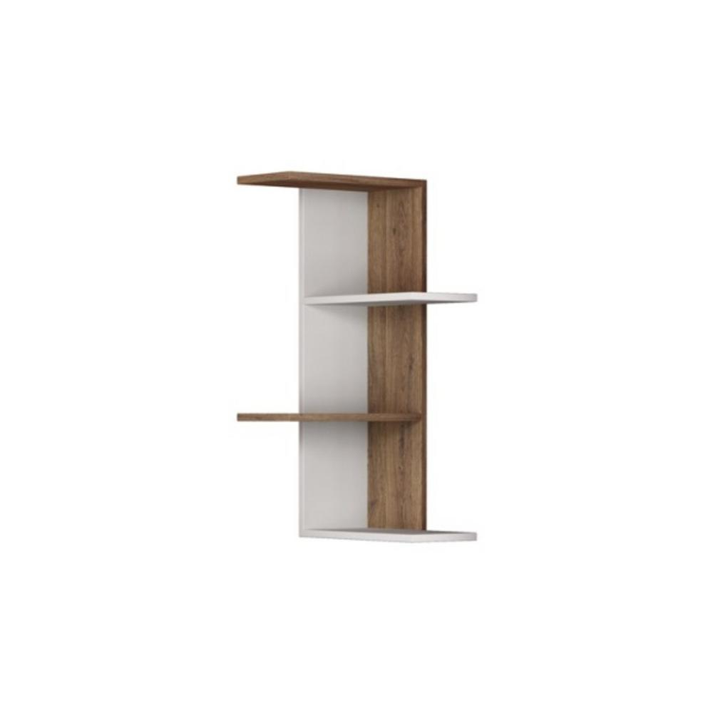 Bowcott White and Light Walnut Mid-Century Modern Wall Shelf