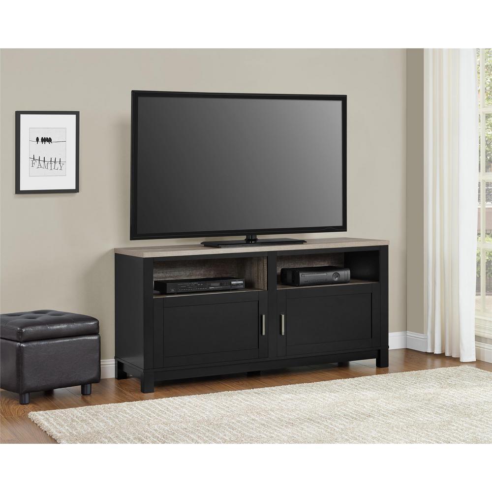 Altra Furniture Carver Black Storage Entertainment Center