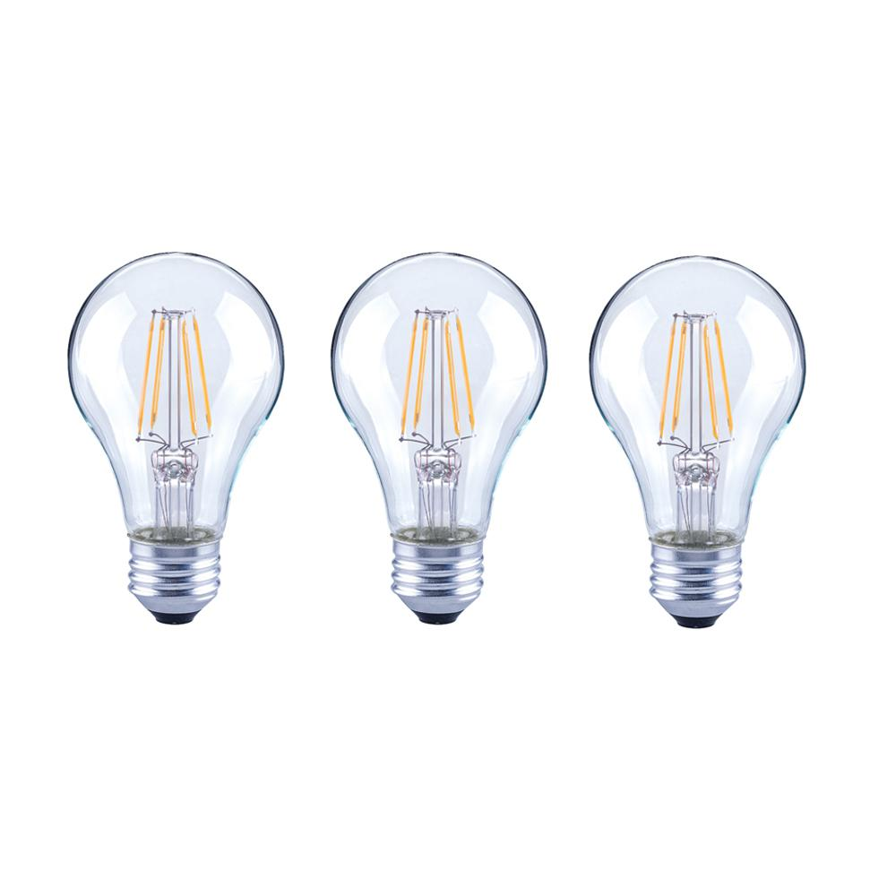 EcoSmart 40-Watt Equivalent A19 Dimmable Clear Filament Vintage Style LED Light Bulb Soft White (3-Pack)
