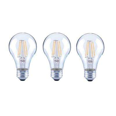 40-Watt Equivalent A19 General Purpose Dimmable Clear Glass Filament Vintage Style LED Light Bulb Soft White (3-Pack)