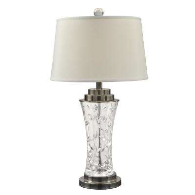 27.5 in. Leaf Vine Crystal Antique Nickel Finish Table Lamp with Fabric Shade