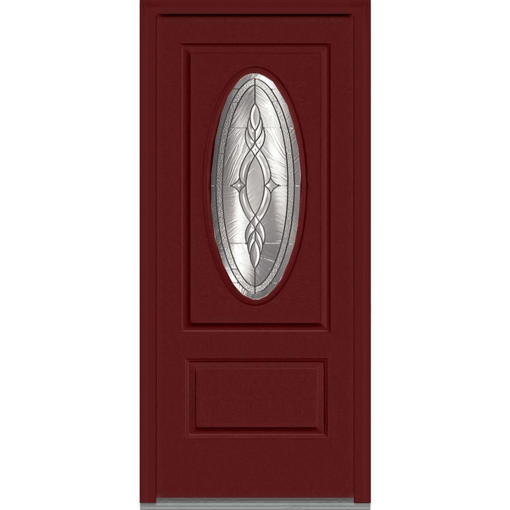 Mmi door 36 in x 80 in brentwood right hand decorative 3 4 oval lite 1 panel classic for 36 x 80 fiberglass exterior door
