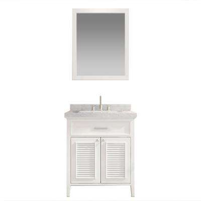 Kensington 31 in. Bath Vanity in White with Marble Vanity Top in Carrara White, Under-Mount Basin and Mirror