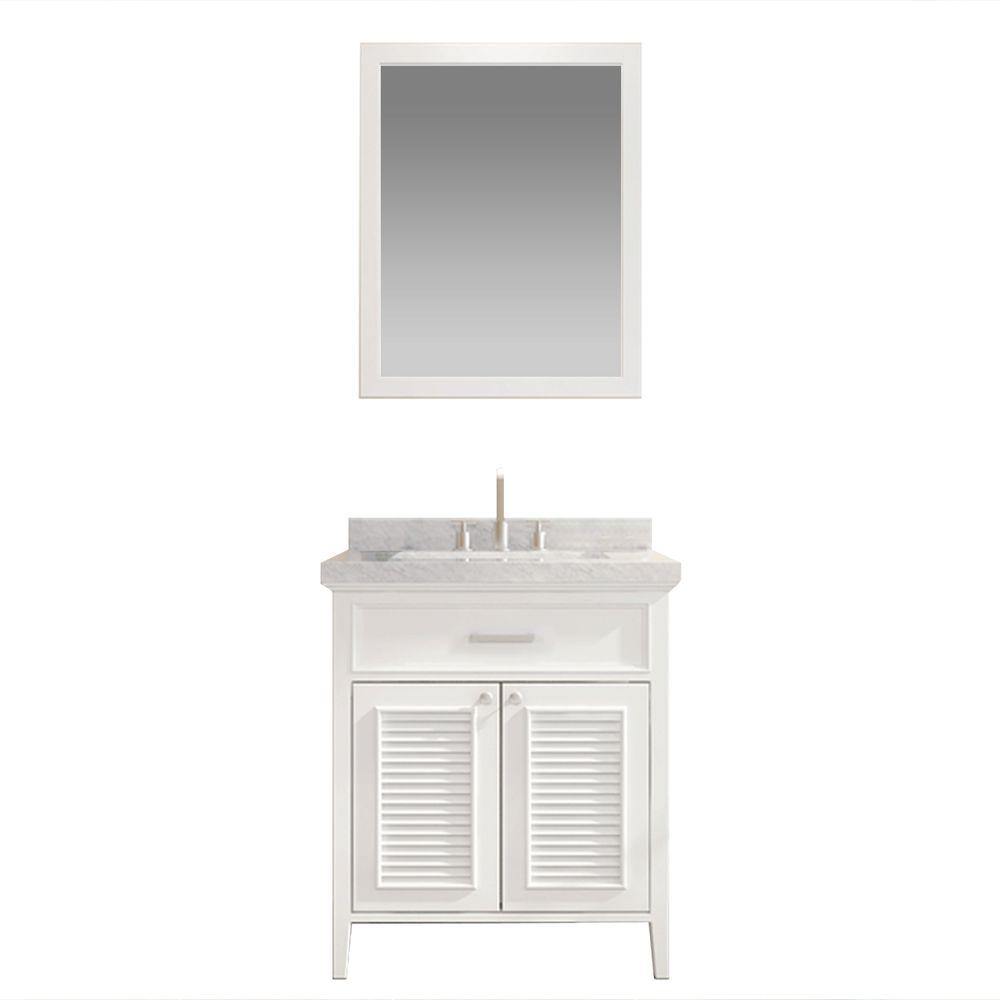 White Under Sink Bathroom Cabinet Undersink Storage: Ariel Kensington 31 In. Bath Vanity In White With Marble