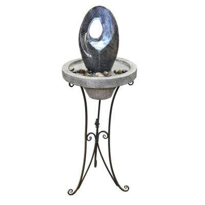 45 in. Tall Modern Abstract Water Fountain with LED Light