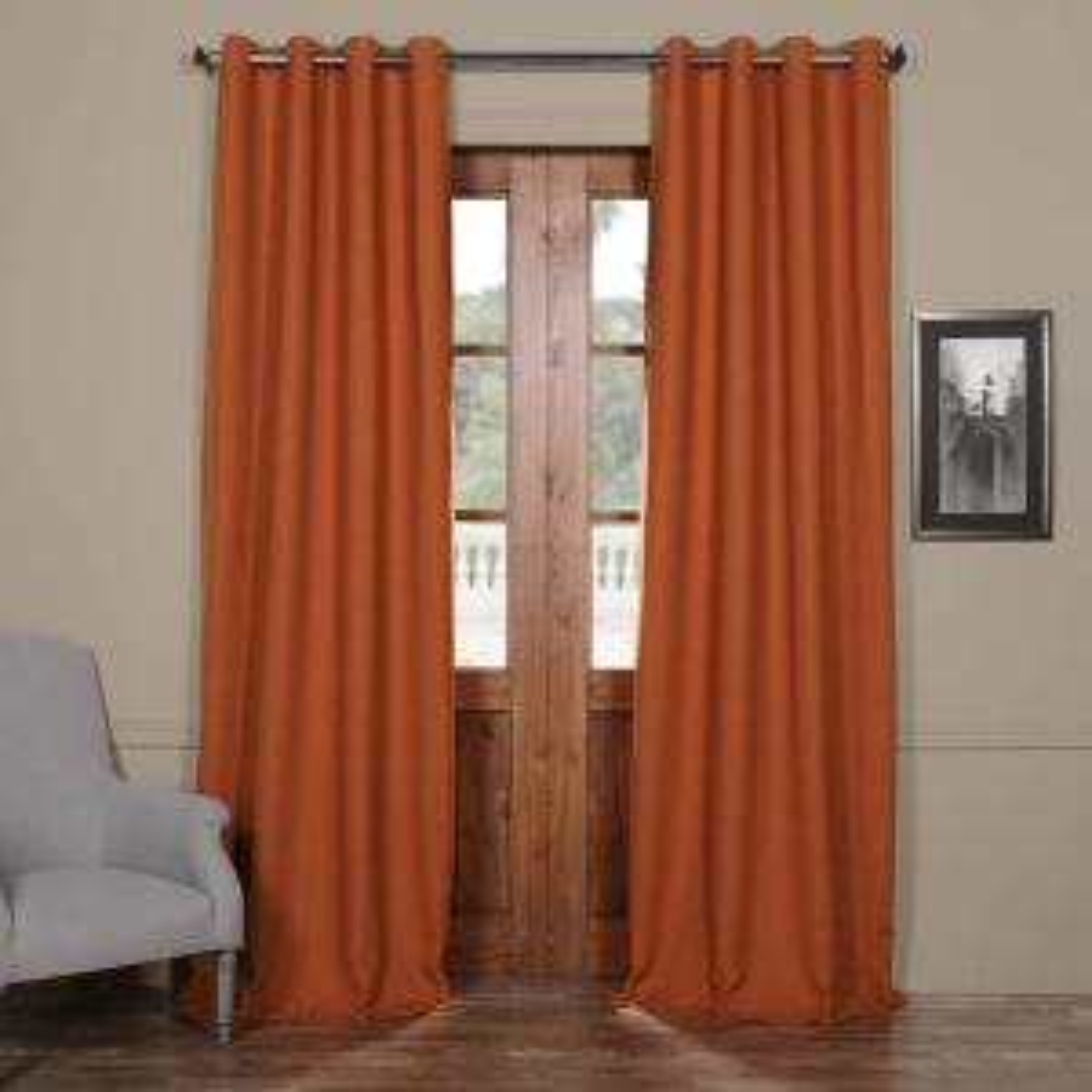 Semi-Opaque Persimmon Bellino Grommet Blackout Curtain - 50 in. W x 96 in. L (Panel)