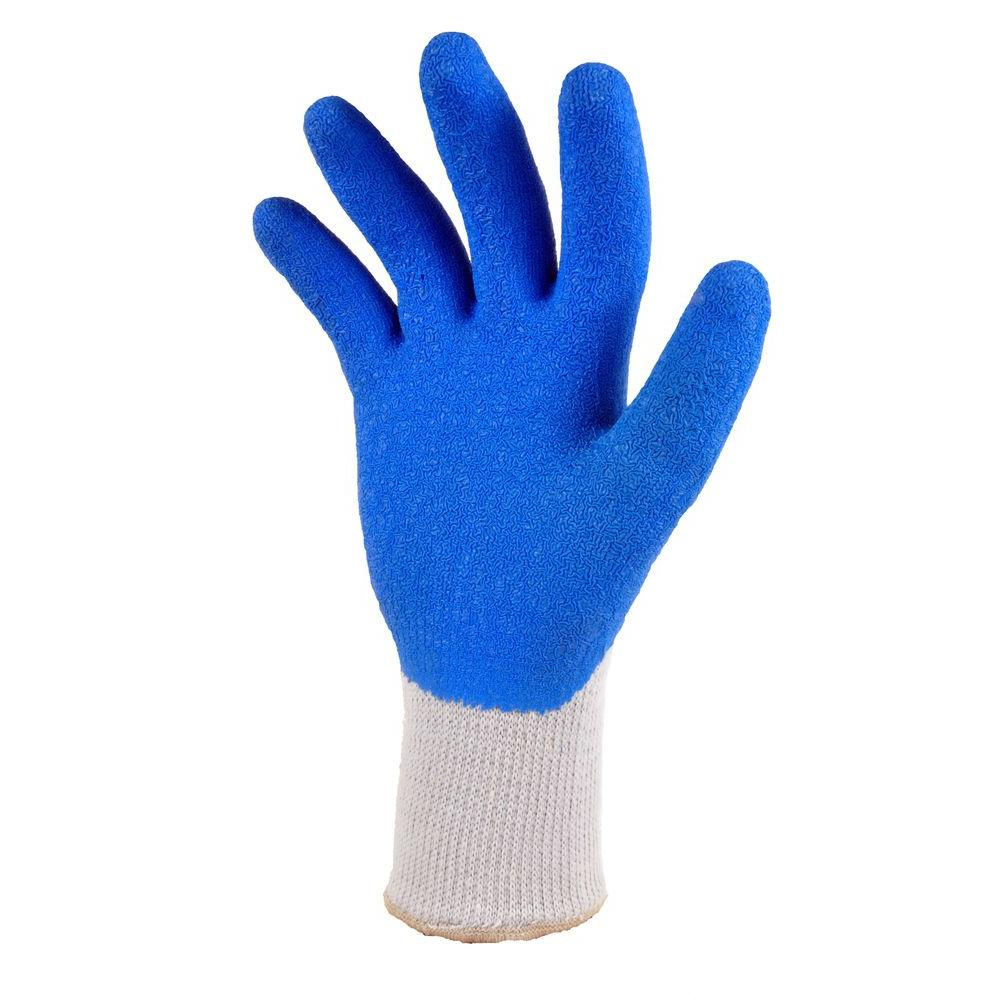 Heavy Duty Rubber Coated Blue Size Large Work Gloves (3-Pair)