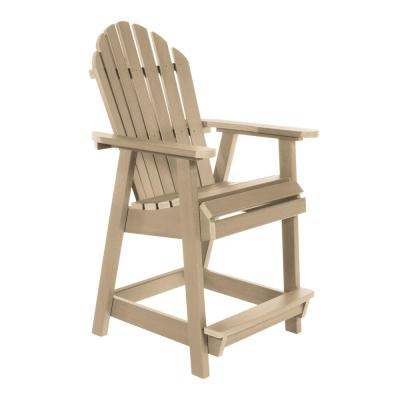 Muskoka Tuscan Taupe with Footrest Plastic Counter-Height Outdoor Dining Chair