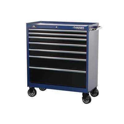 37 in. 7-Drawer Tool Cabinet with Blue Body and Black Drawers