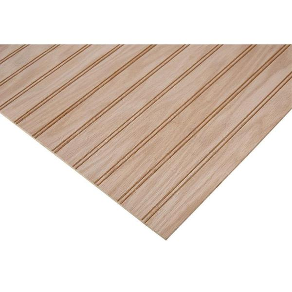 1/4 in. x 4 ft. x 4 ft. PureBond Red Oak 1-1/2'' Beaded Plywood Project Panel (Free Custom Cut Available)