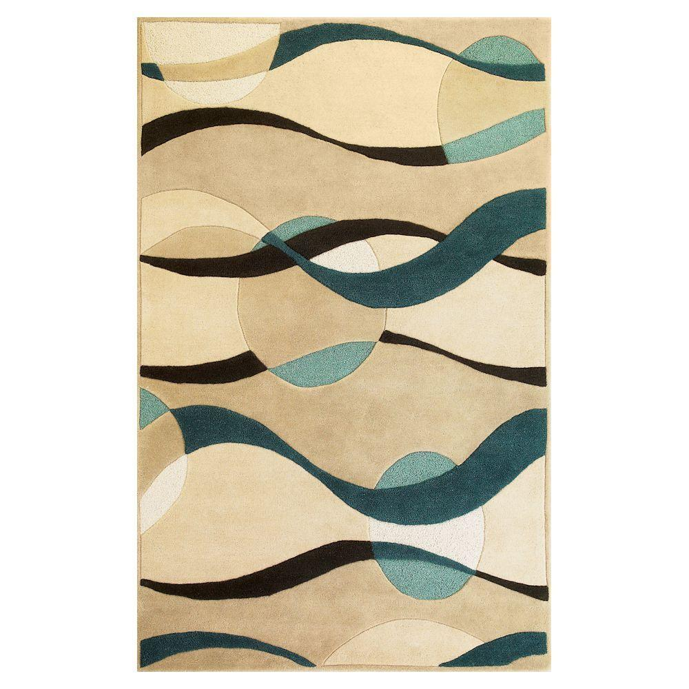 Planet Sphere Ivory/Blue 5 ft. x 8 ft. Area Rug