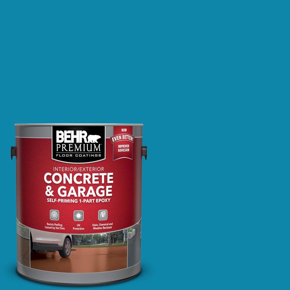 1 gal. #P490-6 Hacienda Blue Self-Priming 1-Part Epoxy Satin Interior/Exterior Concrete and Garage Floor Paint