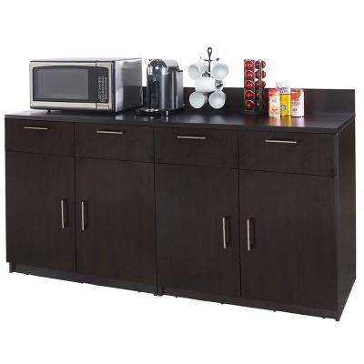 Coffee Kitchen Espresso Sideboard with Lunch Break Room Functionality with Assembled Commercial Grade (2-Piece)