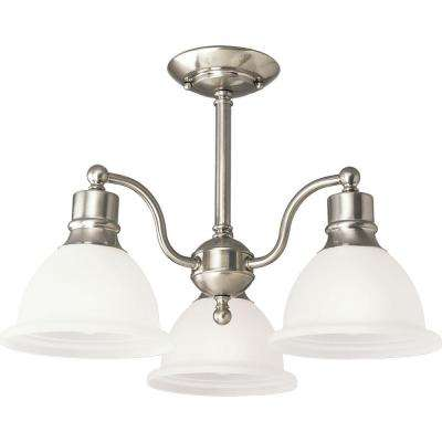 Madison Collection 20.75 in. 3-Light Brushed Nickel Semi-Flush Mount