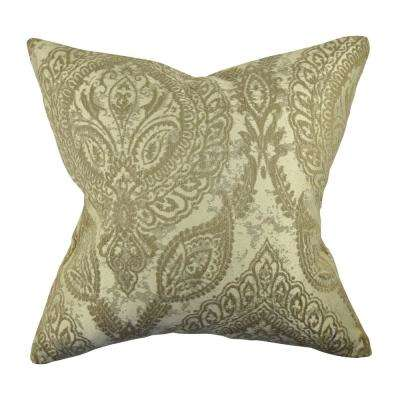 Damask Flocked Throw Pillow