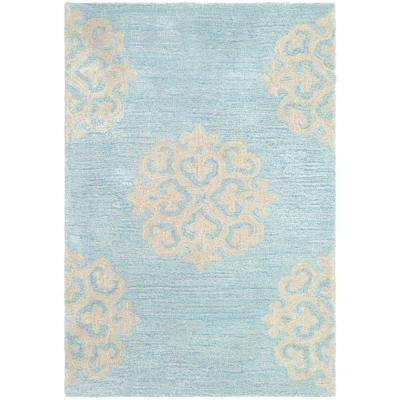 Soho Turquoise/Yellow 3 ft. 6 in. x 5 ft. 6 in. Area Rug