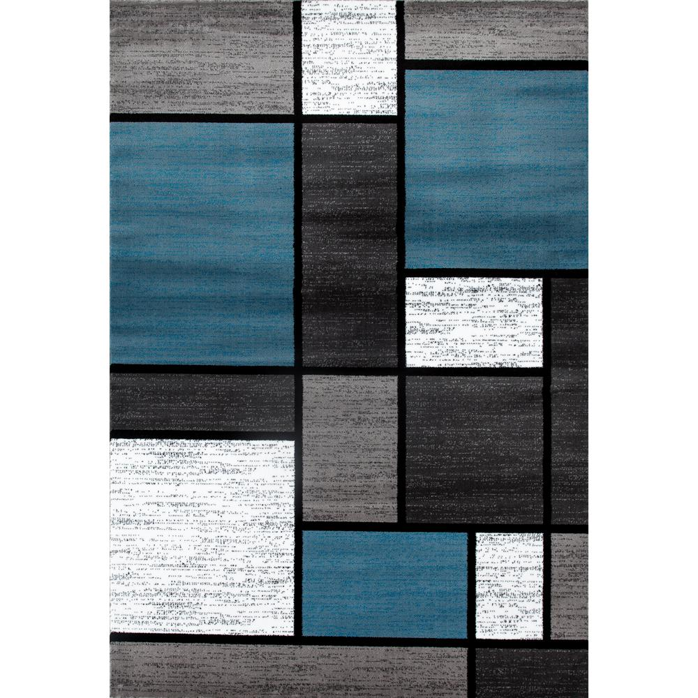 Contemporary Modern Boxes Blue/Gray 9 Ft. X 12 Ft. Area