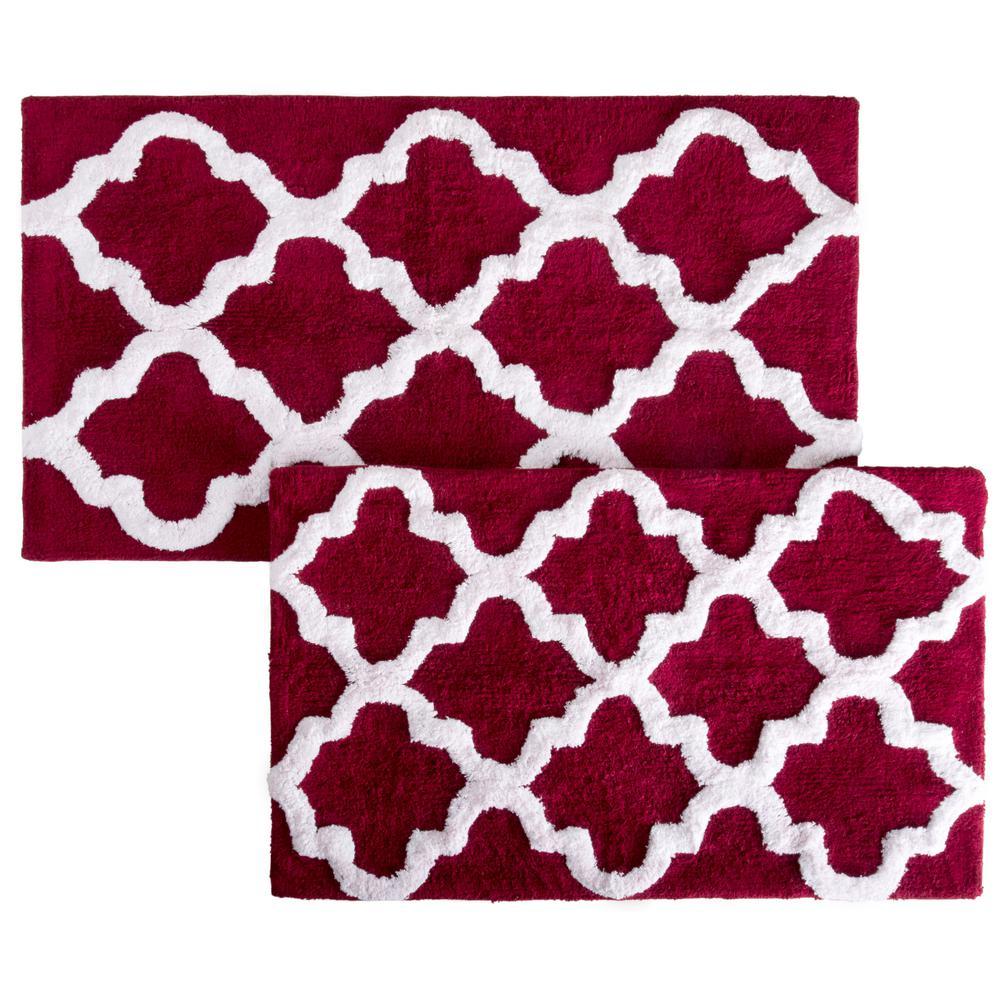Trellis Burgundy 24.5 in. x 41 in. 2-Piece Mat Set