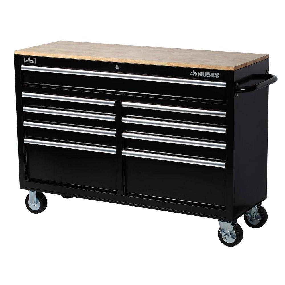 Husky 52 in. W 9-Drawer Mobile Workbench, Black-75809AHR ...