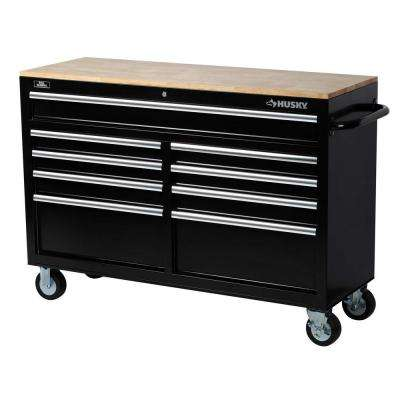 52 in. W 9-Drawer Mobile Work Bench, Black