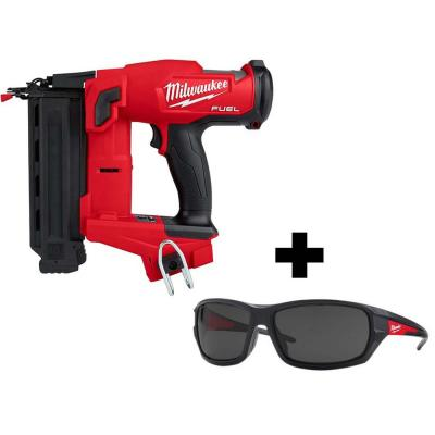 Milwaukee M18 FUEL 18-Volt 18-Gauge Lithium-Ion Brushless Cordless Gen II Brad Nailer w/ Performance Safety Tinted Glasses