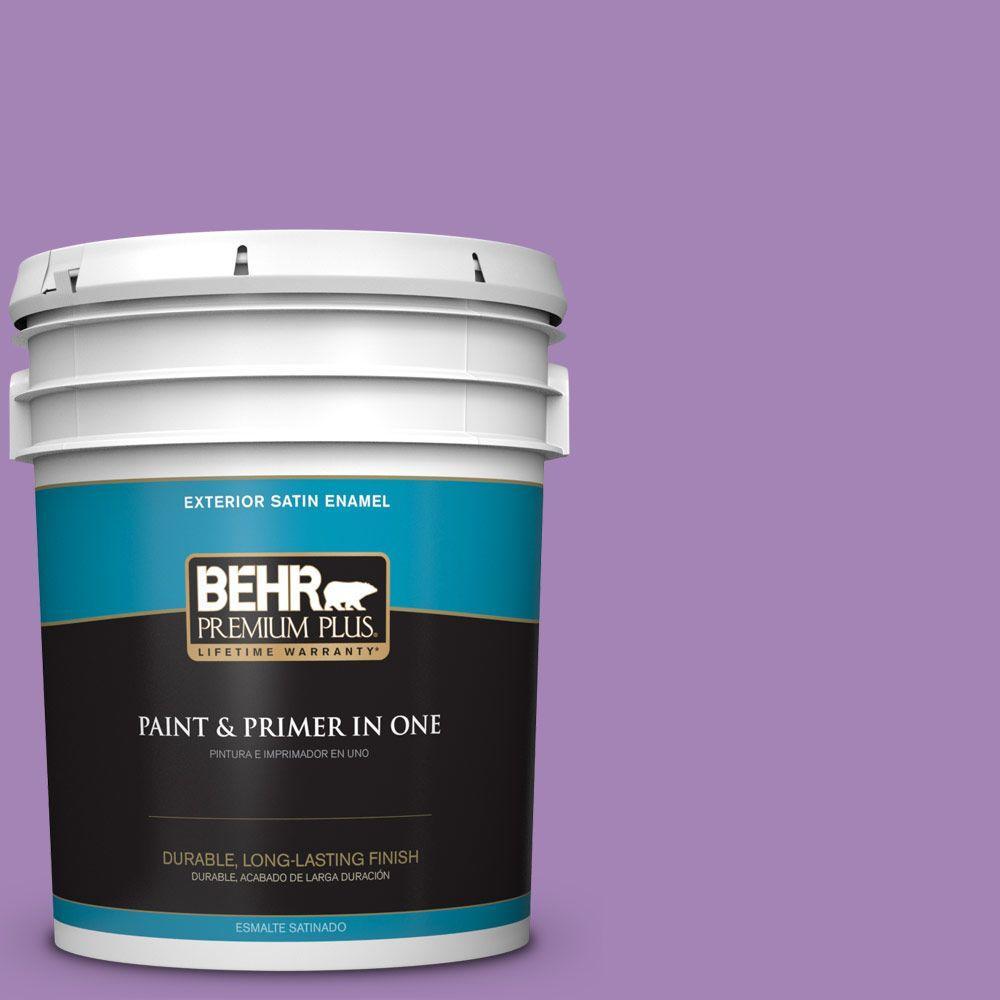 BEHR Premium Plus 5-gal. #660B-6 Daylight Lilac Satin Enamel Exterior Paint