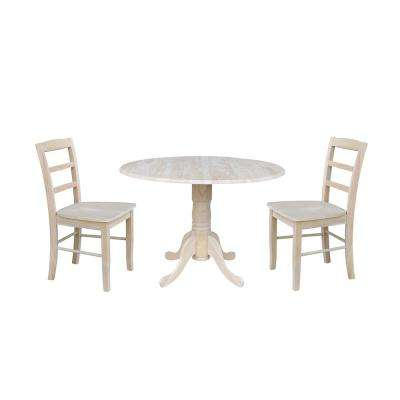 Solid Wood 3-Piece Ready to Finish Dropleaf Dining Set