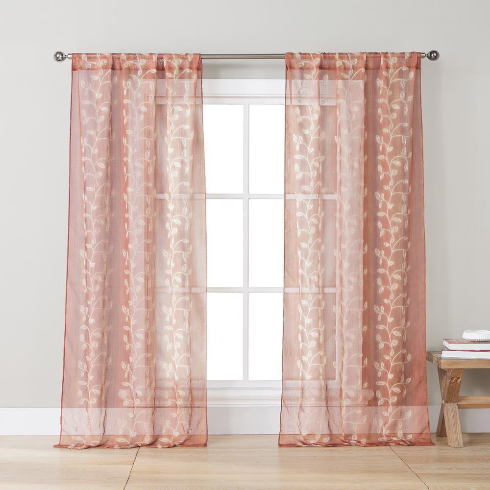 Sarabi 38 in. W x 84 in. L Polyester Window Panel in Spice