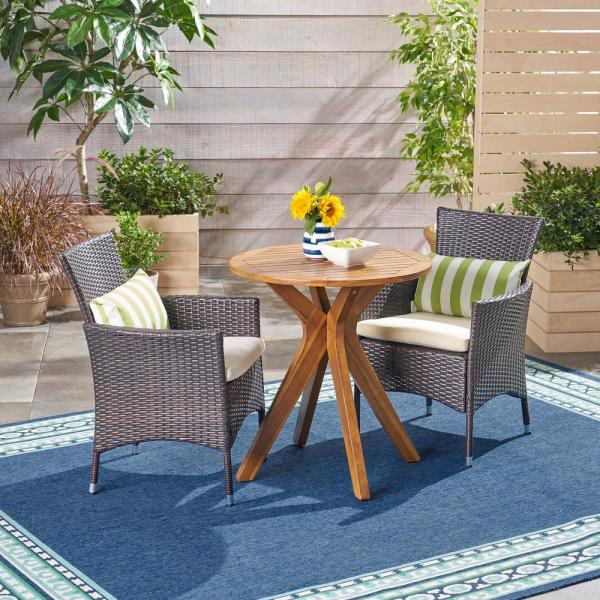 Jillian Multi-Brown 3-Piece Wood and Wicker Outdoor Bistro Set with Beige Cushions