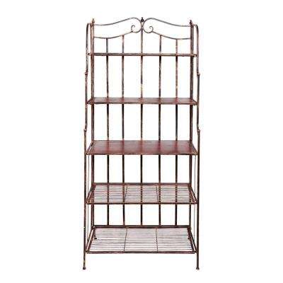 Montclair 30 in. x 16 in. x 67 in. Antique Copper Rosewood Stained Rubberwood Bakers Rack