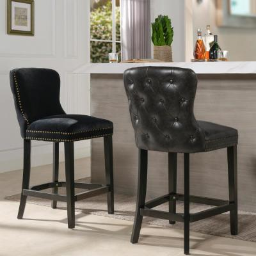 Sonoma 26 Upholstered Bar Stool (Set of 2), Onyx Black