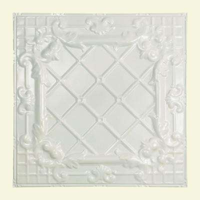 Toledo 2 ft. x 2 ft. Nail-up Tin Ceiling Tile in Gloss White