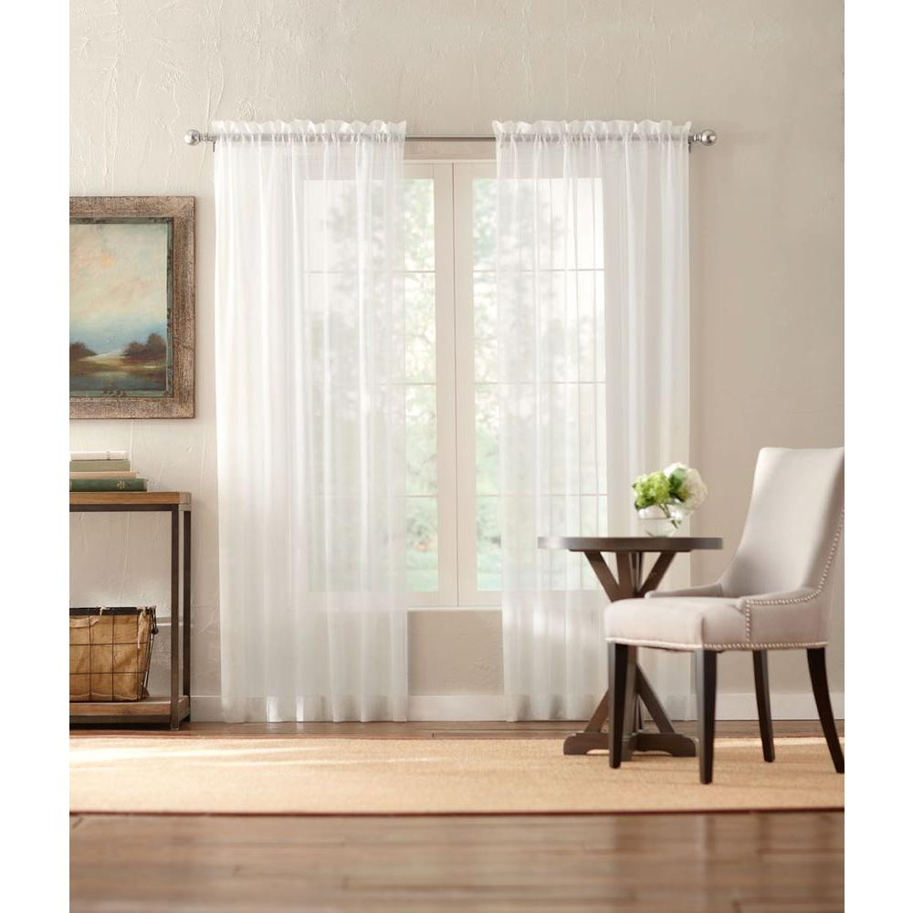 Home decorators collection sheer cream sheer voile rod pocket curtain 1624021 the home depot Home decorators collection valance