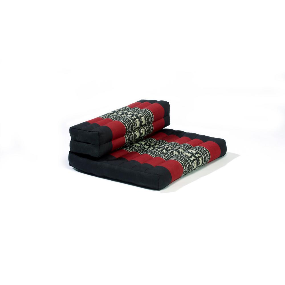 Black and Red Dhyana Floor Living and Meditation Cushion
