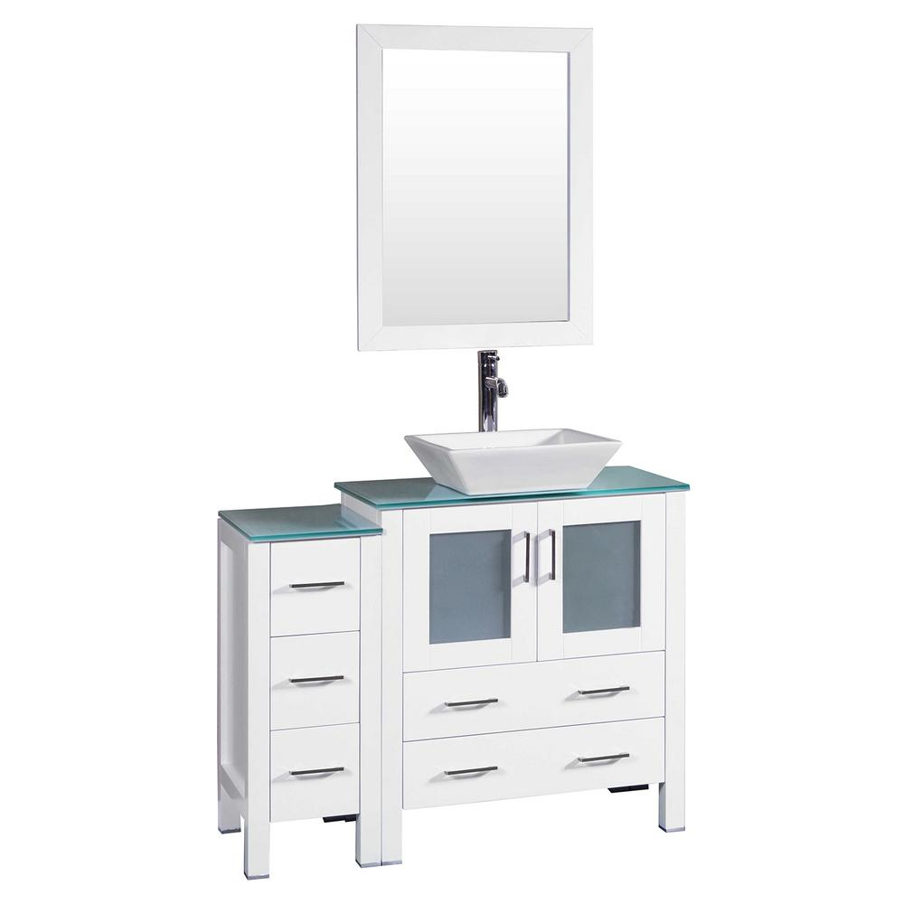 Bosconi 42 in. W Single Bath Vanity in White with Tempered Glass Vanity Top with White Basin and Mirror